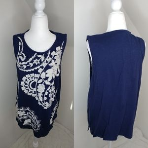 Lucky Brand embroidered tank top size XL